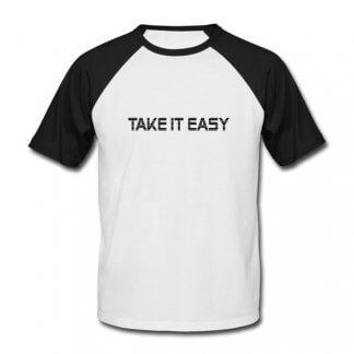 "T-Shirt, weiß-schwarz, ""Take it easy"""