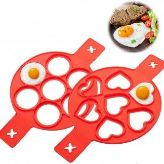 Liumy Omelett Fixierer Silikon Pfannkuchenformen mit 7 Löchern Herz & Runde